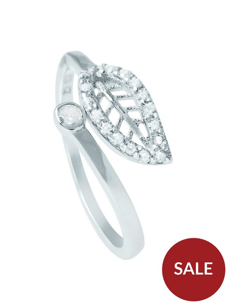 the-love-silver-collection-leaf-cubic-zirconia-ring