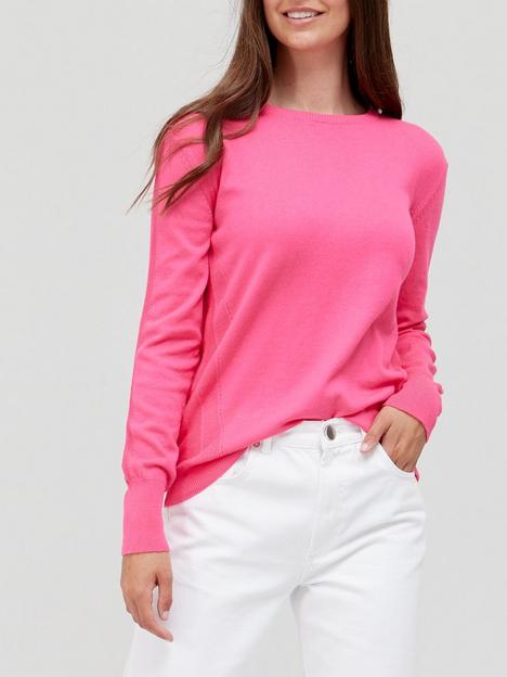 v-by-very-knitted-crew-neck-top-hot-pink