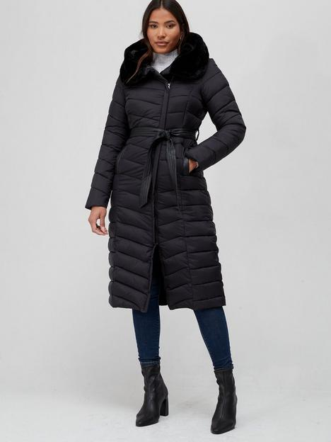 v-by-very-faux-fur-trim-hooded-padded-coat-black