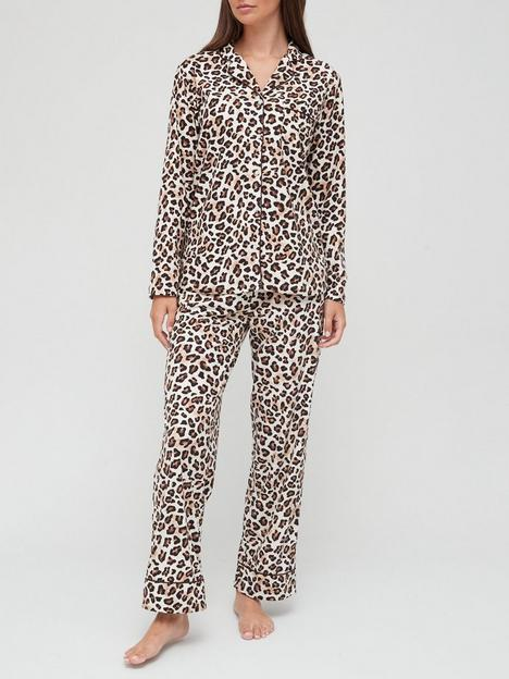v-by-very-animal-button-through-pyjamas-in-a-bag-leopard
