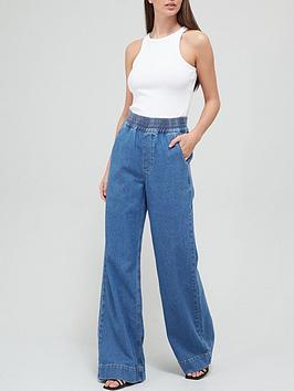 v-by-very-elasticated-waist-wide-leg-lounge-jeannbsp--mid-wash