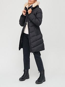 v-by-very-waist-detail-padded-coat-with-faux-fur-black