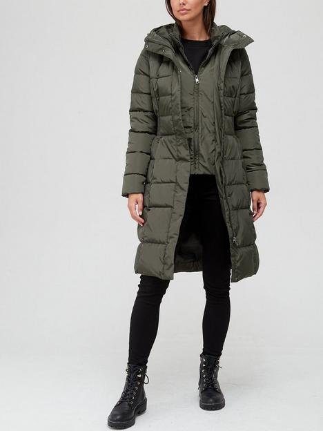 v-by-very-double-placket-long-padded-coat-olive