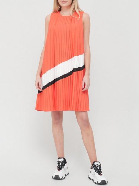 armani-exchange-pleated-sleeveless-stripe-dress-red