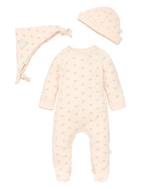 the-little-tailor-baby-girls-super-soft-jersey-sleepsuit-hat-and-comforter-peach
