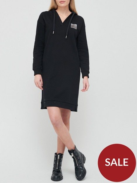 armani-exchange-long-sleeve-sweat-dress-black