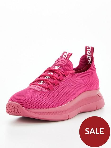 kg-kaker-knit-lace-up-trainers-fuchsia