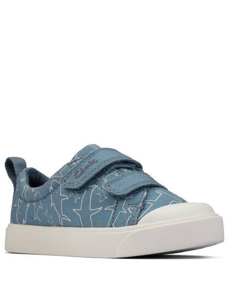 clarks-city-bright-toddler-shark-print-canvas-plimsoll-blue