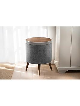 Product photograph showing Koble Zain Side Table With Wireless Charging And Bluetooth Speakers - Walnut Effect Grey