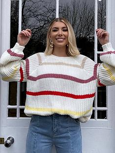 in-the-style-in-the-style-olivia-bowen-multi-stripe-balloon-sleeve-jumper
