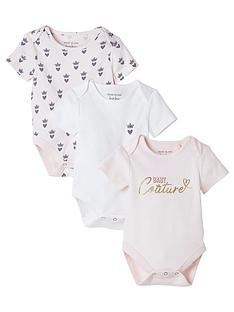 river-island-baby-baby-girls-3-pack-crown-short-sleeve-bodysuits-pink