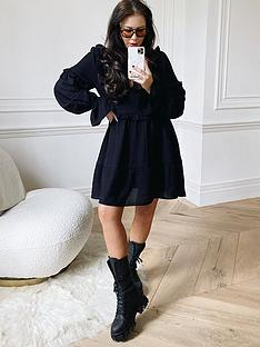 in-the-style-in-the-style-xnbsplorna-luxenbspgirls-girl-frill-long-sleeve-day-dress-blacknbsp