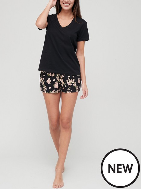 v-by-very-floral-t-shirt-and-shorts-pyjamas-black-floral-print