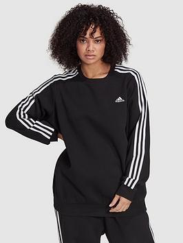 adidas-essentials-3-stripes-fleece-sweat-plus-size-blackwhite