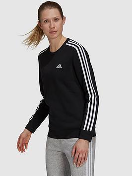 adidas-essentials-3-stripes-fleece-sweat-top-blackwhite