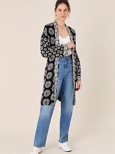 monsoon-circle-print-longline-kimono-black