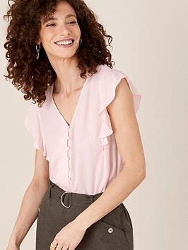monsoon-button-front-v-neck-ruffle-top-blush