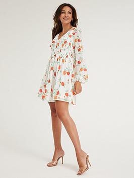 michelle-keegan-shirred-waist-skater-dress-floral