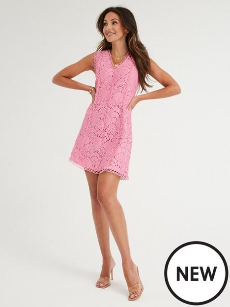 michelle-keegan-lace-skater-dress-pink