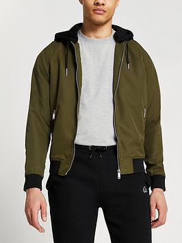 river-island-jersey-hooded-bomber-jacket--nbspkhaki