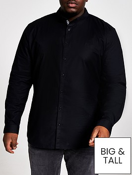 river-island-big-and-tallnbsplong-sleeve-oxford-shirt-black