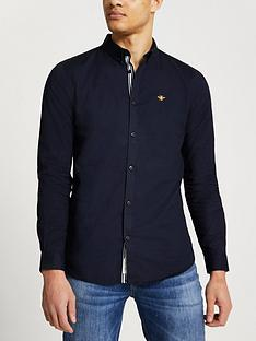 river-island-embroidered-nbsplong-sleeve-muscle-fit-oxford-shirt-navy