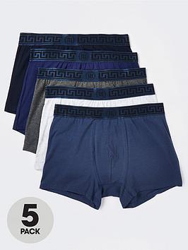 river-island-5-pack-greek-waistband-trunks-blue