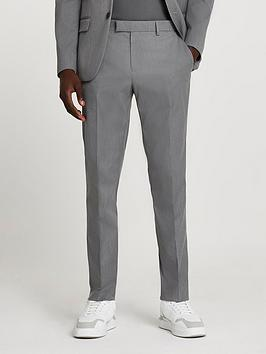 river-island-skinny-fit-twill-suit-trousers-grey