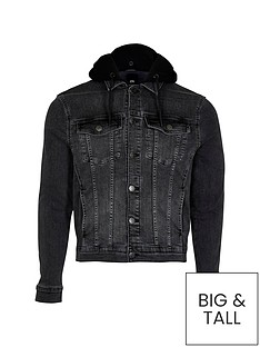 river-island-big-tall-hooded-denim-jacket-black