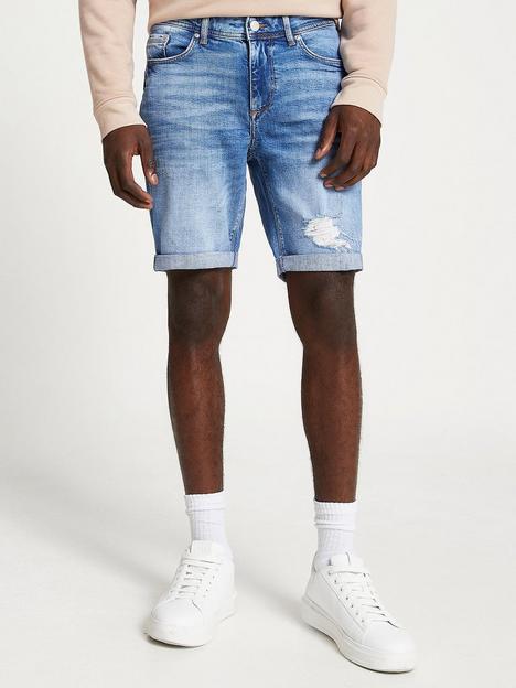 river-island-ripped-skinny-denim-shorts-blue