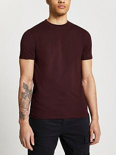 river-island-short-sleevenbspslim-t-shirt-red