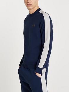 river-island-premium-long-sleeve-crew-jumper-navy