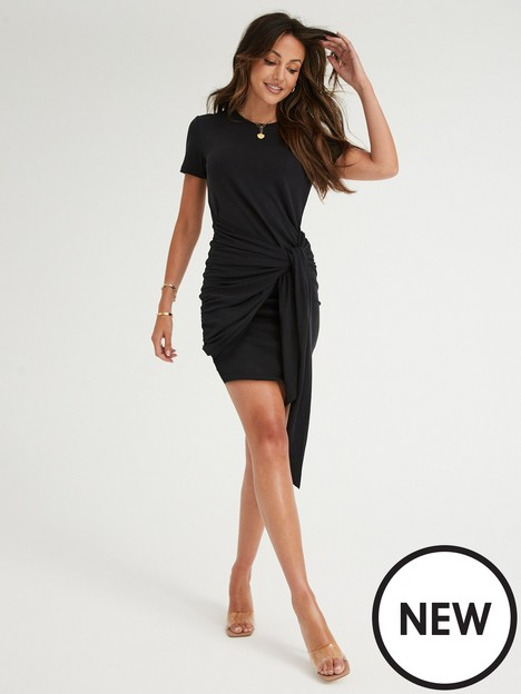 michelle-keegan-tie-front-jersey-t-shirt-dress-black
