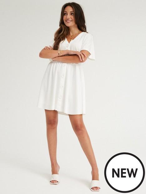 michelle-keegan-button-through-jersey-swing-dress-white