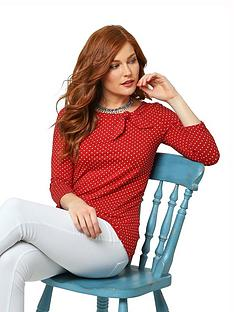 joe-browns-polka-dot-jersey-top-red