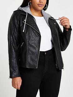 ri-plus-hybrid-hoody-pu-biker-jacket-black
