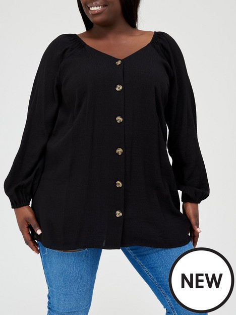 v-by-very-curve-v-neck-button-through-long-sleeve-blouse-black