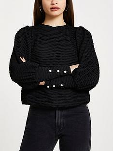 river-island-puff-sleeve-textured-jersey-top-black