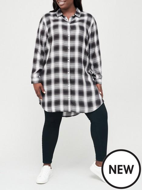 v-by-very-curve-long-line-check-shirt-black