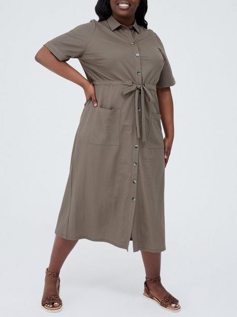 v-by-very-curve-pique-short-sleeve-utility-shirt-midi-dress-khaki