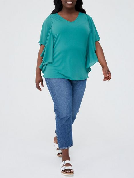 v-by-very-curve-chiffon-waterfall-sleeve-jersey-top-green