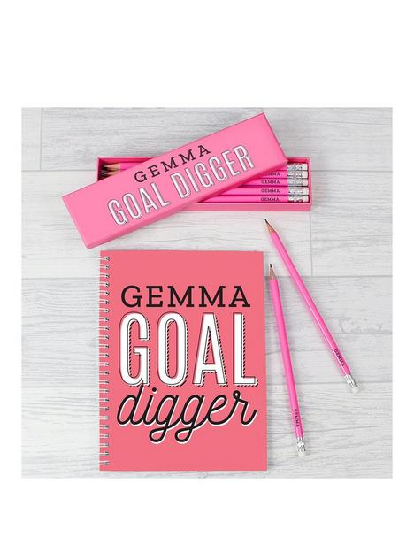 the-personalised-memento-company-personalised-goal-digger-pencils-and-notebook