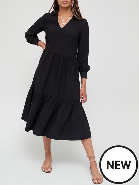 v-by-very-long-sleeve-shift-midi-dress-black