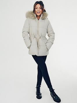 michelle-keegan-drawcord-waist-short-padded-coat-green