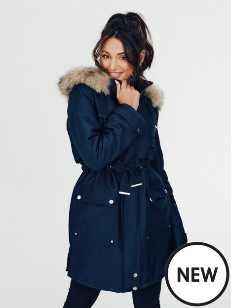 michelle-keegan-premium-faux-fur-lined-short-parka-coat-navy