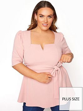 yours-yours-londonnbspnotch-neck-belted-peplum-top-pink