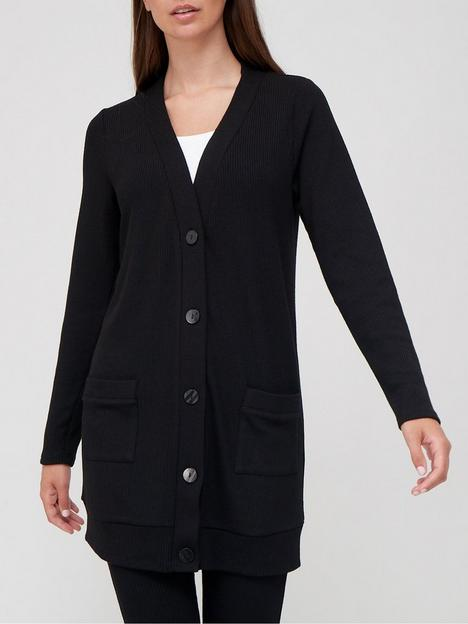 v-by-very-longline-textured-cardigan-co-ord-black