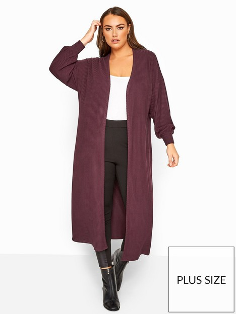 yours-yours-london-brushed-balloon-sleeve-cardi-plum
