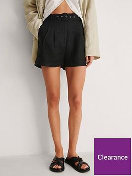 na-kd-high-waist-belted-linen-shorts-black