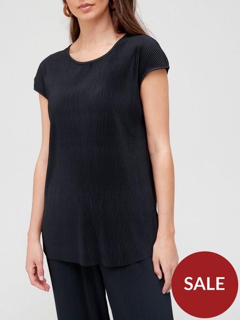 v-by-very-crinkle-short-sleeved-co-ord-top-black